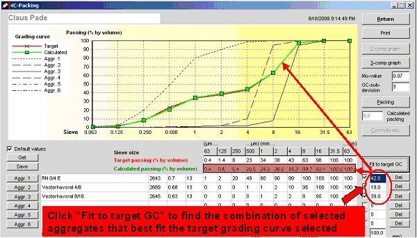 Encontrar a melhor combinação adequada dos três agregados selecionados para a curva granulométrica alvo.  Vista parcial do 4C-Packing da interface do usuário.