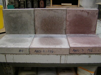 "Tiles made of concrete (A) without bioash B) with light ash and C) with ""normal"" bioash."