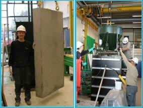 Left: Casting of large concrete block at the DTI laboratory.