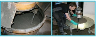 Left: Self-compacting concrete in the mixer.