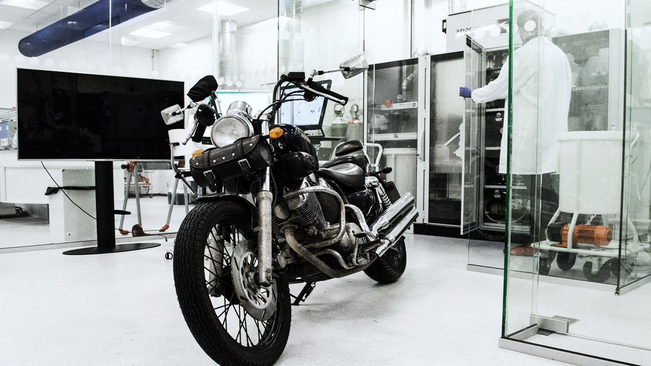 motorbike showing catalyst in lab